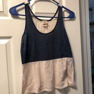 Crop top tank with crochet back. Size medium
